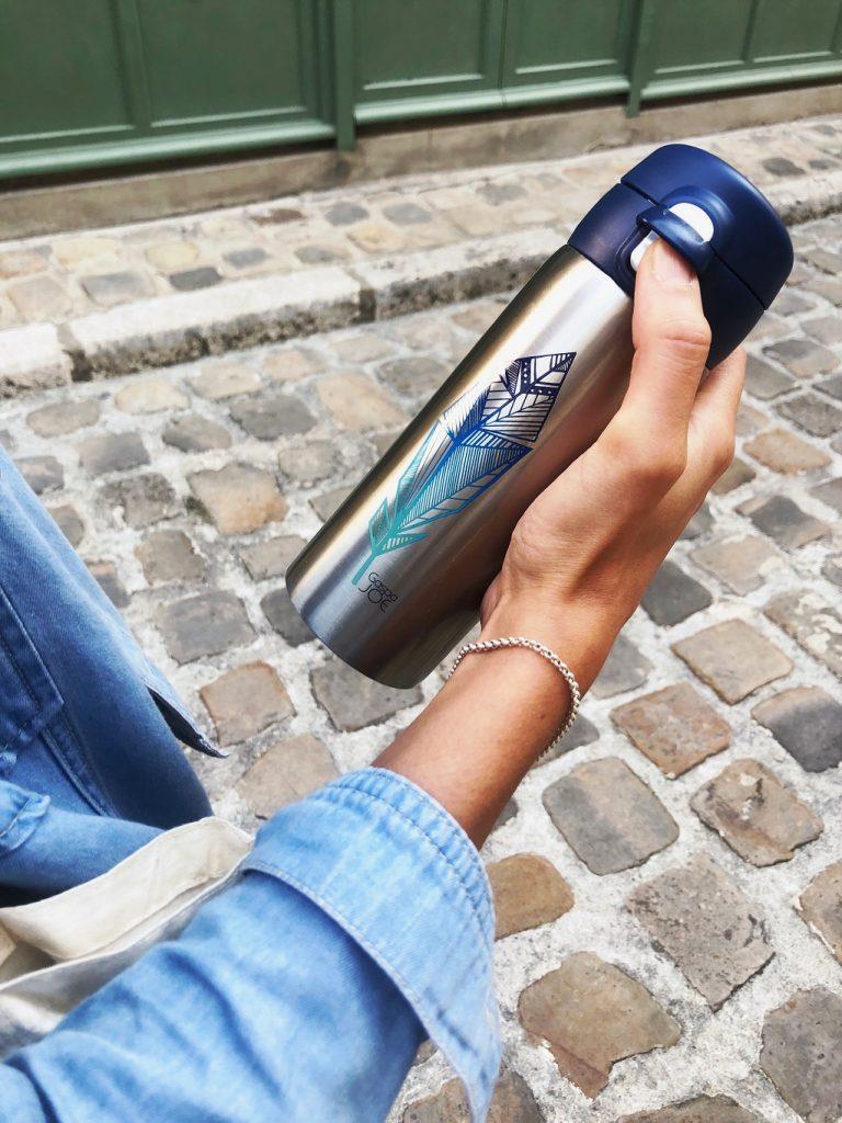Mug isotherme en inox Gaspajoe, marque française d'accessoires zéro déchet. Mademoiselle Coccinelle, blogueuse green