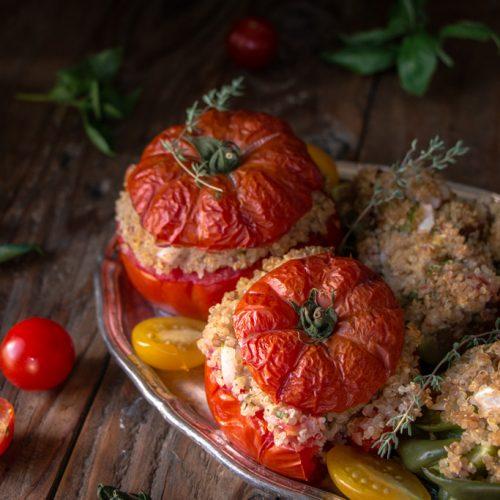 Légumes farcis végétariens au quinoa, recette vegan et sans gluten
