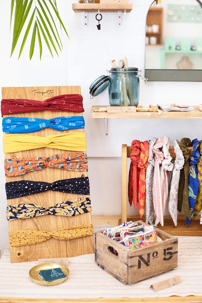 Headbands et accessoires zéro déchet Trinquette artisanat chez L'AteLiées, boutique de créateurs made in France à Montpellier.